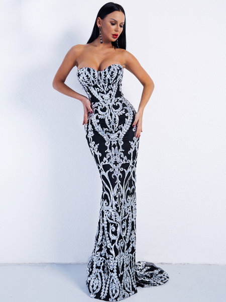 Дълга бална рокля Кейт в сребрист цвят